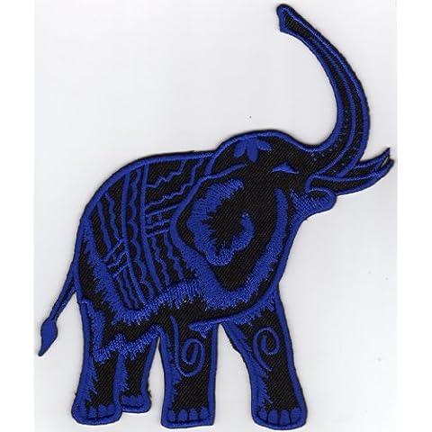 Toppa da applicare con ferro da stiro elefanti blu nero circo animali grande 120x 115mm - Zoo Blu Animali