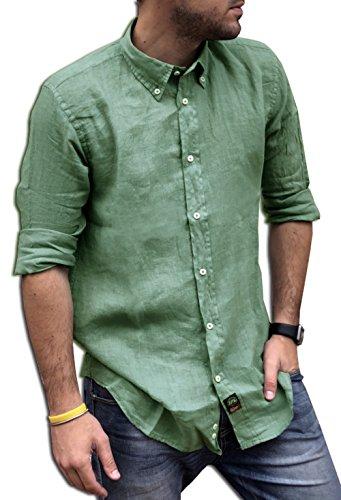 Tipo's camicia uomo puro lino made in italy art. 200 manica lunga tg. m, l, xl, xxl, xxxl estate 2018 (l, verde salvia)