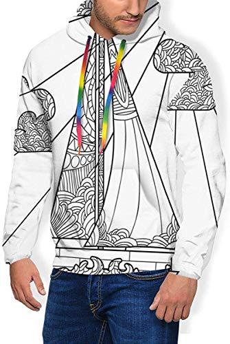 Leyhjai Der Hoodie der Männer verdicken Flaum-Sweatshirt, Pavillon der chinesischen Art in der Vollmond-Nacht, um Mitte des Herbstfestivals zu feiern -