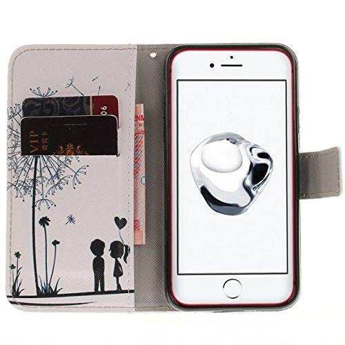 Vandot Ultra Slim Per Iphone 8 Custodia in Pelle ,Portafoglio Porta Carte e Protettiva, Flip Case per Iphone 8 Cover + 1 X Hairball Cinturino + 1 X Penna-Tigre Bianca Dipinto 8