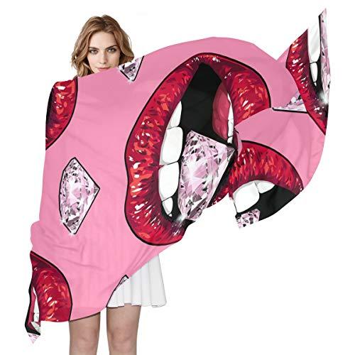BIGJOKE 3D Sexy Frauen Lippen Muster Frauen Seide Schal Leichter Langer weicher Chiffon Schal Wrap Neck Schal Muffler für Damen Mädchen Herren -