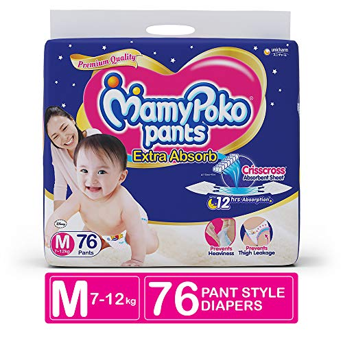 MamyPoko Pants Extra Absorb Diaper, Medium (Pack of 76)