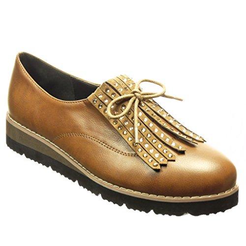 Angkorly - Scarpe da Moda Mocassini scarpa derby slip-on donna frange strass lacci Tacco zeppa 3.5 CM - Cammello WH801 T 38