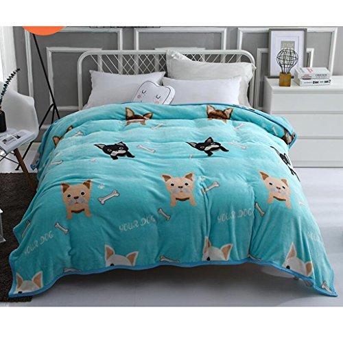 Rollsnownow Green Dog Pattern Bett Decke Quilt Flanell Verdickung Warm Student Schlafsaal Winter Blätter ( größe : 180*200cm )
