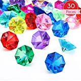 30 Pieces Acrylic Diamond Gems Jewels Pirate Gems Set Treasure Jewels Chest Hunt Party Favors, 25 Carat Multicolored Acrylic Large Gems