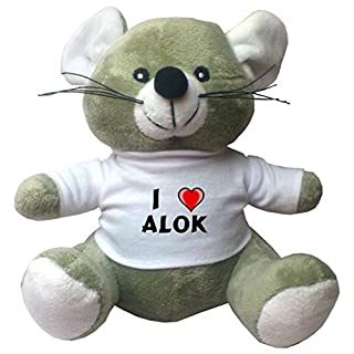 Plush Mouse with I Love Alok T-shirt (first name/surname/nickname)
