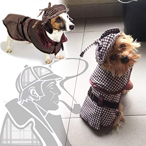 Coppthinktu Sherlock Holmes Hundekostüm - berühmte Detektiv-Hunde-Kostüm, Small, Mehrfarbig (Sherlock Holmes Kostüm Halloween)