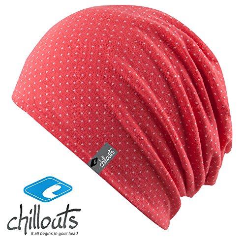 Chillouts Florence Kinder Mütze für Jungen & Mädchen in der Farbe Coral Pink Weiß...