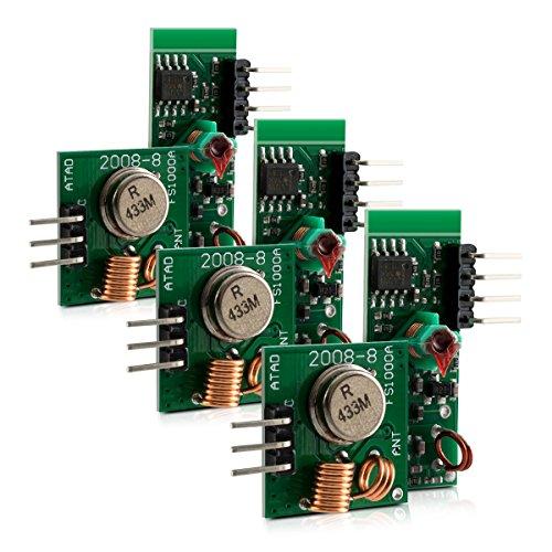 kwmobile 3X Módulo Receptor transmisor de Radio inalámbrico - Kit de emisor y Receptor 433 MHz para Arduino Raspberry Pi - Set de módulos