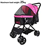 Display4top Pink Pet Travel Stroller, Foldable Four-Wheeled Trolley Suspension Commutation Cat and Dog