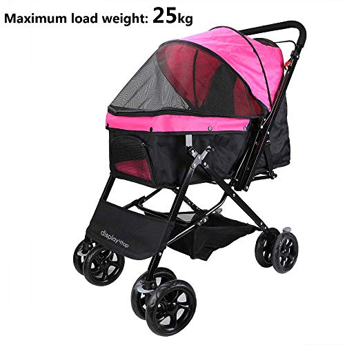 Display4top Pink Pet Travel Stroller, Carro de Cuatro Ruedas Plegable, suspensión, conmutación,...