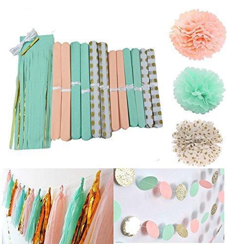 furuix-26pcs-peach-menta-lunares-oro-tejido-pom-pom-flores-bolas-de-tejido-pelota-pompon-de-papel-de