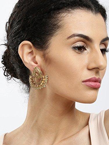 Zaveri Pearls Jhumki Earrings for Women (Golden)(ZPFK6029)