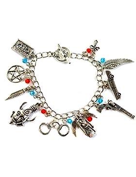 Supernatural Charm-Armband, von Sam und Dean Winchester inspiriert, Silberfarben