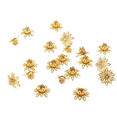Hellery Hohle Blume 20 Stücke Durchmesser 16mm Spacer Perlenkappen Für Schmuck Machen Filigrane Perlenendkappen DIY Anhänger Handwerk Liefert - Gold
