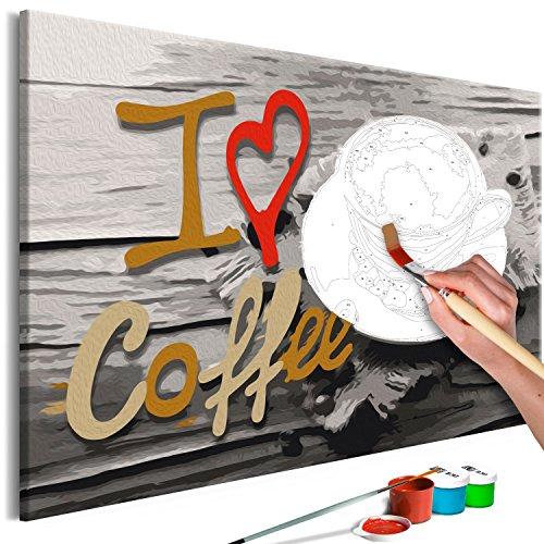 murando - Malen nach Zahlen Kaffee 60x40 cm Malset mit Holzrahmen auf Leinwand für Erwachsene Kinder Gemälde Handgemalt Kit DIY Geschenk Dekoration n-A-0535-d-a