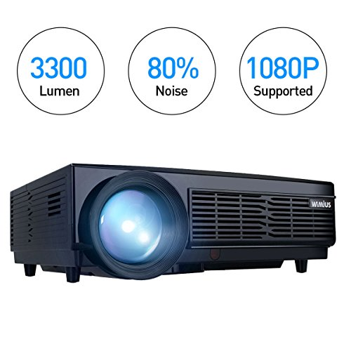 Beamer Full HD, Beamer LED 3300 Lumens HD Beamer LCD 1280*800 Video Projektor Heimkino WiMiUS T6 Projector Unterstützung 1080P Mit Kostenlose HDMI-Kabel inklusive Schnittstellen HDMI USB VGA AV SD Schwarz