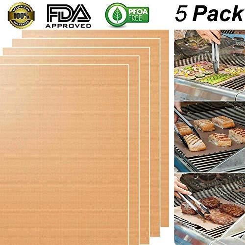 TDW Grillmatte, Grillmatten und Backmatte 5er Set für BBQ Backen Grillen Gasgrill Holzkohle Elektrogrill Fisch, 100{ef1f14c51515236ffdaffa0df08f878b900031e9832850b79d6b2ba52fc5a113} Antihaft Wiederverwendbar FDA PFOA Kupfer Silikon Grillmatte, 400 x 330 mm