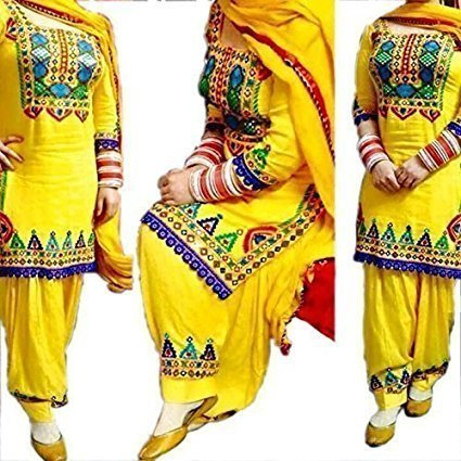 Women\'s Festival Mega Sale Offer Pure Cotton Heavy Embroidered Semi-Stitched Patiala Salwar Suit Dresses With Dupatta (Yellow-Color)
