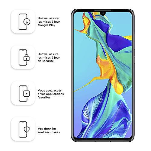 Huawei P30 Smartphone débloqué 4G (6,1 pouces - 6/128Go - Double Nano SIM - Android 9.1) Noir [Offre avec bon d'achat]
