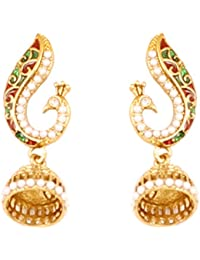 Touchstone Indian Bollywood Peacock Inspired Faux Pearls Ruby Emerald Designer Jewelry Earrings In Antique Gold...