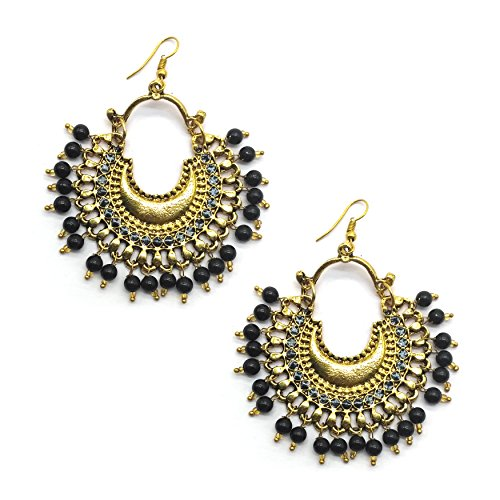 iKraft Afghan Earring - Antique Stylish Black Beads Afghani Tribal Dangler Hook Oxidized Chandbali Earrings for Girl and Women