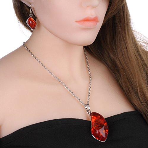 YAZILIND Femmes Charm luxueux synthétique Collier Ambre boucles d'oreilles vintage Parures rouge