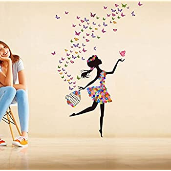 Decals Design 'Dreamy Girl with Flying Colourful Butterflies' Wall Sticker (PVC Vinyl, 60 cm x 90 cm)