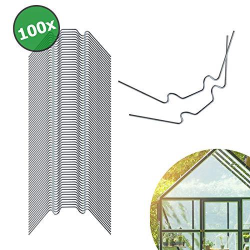 wamboss® Gewächshaus Klammern Edelstahl 100 Stück - Extra Stark 1,6 mm Dicke Rostfreie Gewächshausklammern für Glas - Garten Gewächshaus Zubehör