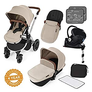 Ickle Bubba Stroller Stomp V3 iSize All-in-One iSize Baby Travel System | Car Seat w/ Isofix Base, Rear and Forward-Facing Pushchair, Carrycot |  Sand on Silver Frame   3