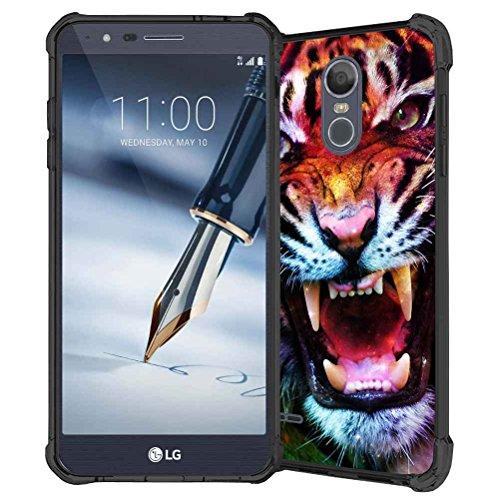 LG Stylo 3Fall, LG Stylo 3Plus Fall, LG Stylus 3Fall, abloombox Design Stoßdämpfung Soft Bumper Slim Gummi Silikon Skin Schutzhülle Case Cover für Projektoren LG LS777, Space Galaxy Nebula Tiger Tiger Chevron Print