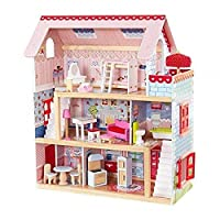 FENHON YSYYSH Doll toy set Chelsea wooden cottage dollhouse furniture and accessories, including three floors set up to fight