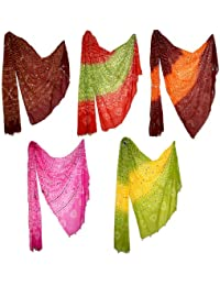 Ethnic Multicolored Tie Dye Cotton Abstract Stole Lot For Women's By Rajrang