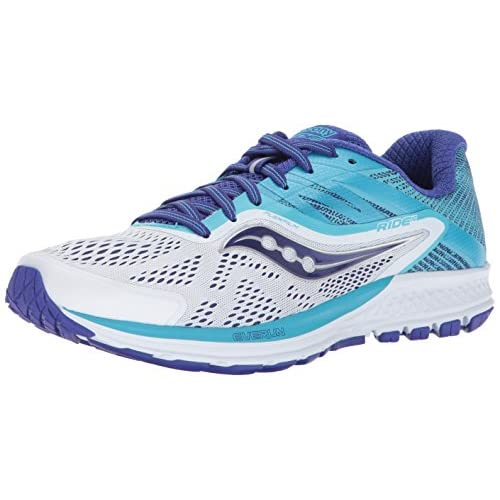51wGLVOFHYL. SS500  - Saucony Women's Ride 10 Running Shoe, White Blue, 9 Medium US