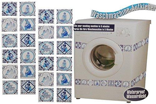 Preisvergleich Produktbild Aufkleber / Sticker - z.B. für Maschmaschine - wasserfest - Kacheln 48 Stück blau - Tattoo Waschmaschinen Deko - Badezimmer