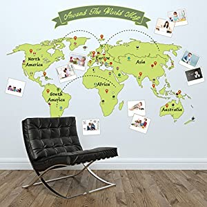 Removable Self-Adhesive Wall Stickers Around The World Map Mural Art Decals Vinyl Home Decoration DIY Living Bedroom Décor Wallpaper Kids Room Gift 165×115 cm, Green by Walplus