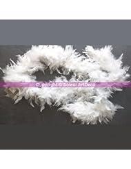 Guirlande Boa légère de plumes blanches, 2 mètres, poids 50 g