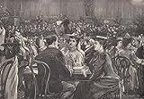Boston - Populäres Konzert in der Musikhalle zu Boston. Schöne innere Ansicht. Die Gäste sitzen mit ihren Getränken an Tischen. Im Hintergrund spielt die, aus vielen Musikern bestehende, Kapelle. [Grafik]
