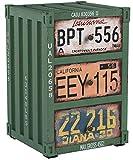 ts-ideen comodino cassettiera color verde stile: design industriale container look vintage 34 x 51 cm