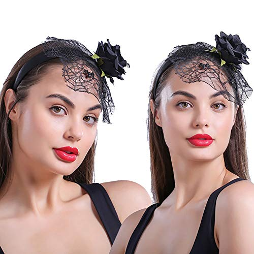 Spider Kostüm Witwe - YXYXN Halloween Stirnbänder , Lace Tiaras Stirnband für Frauen Mädchen Black Rose Flower Spider Mesh Halloween Haarband Festival Zubehör Kopfbedeckungen, 3St