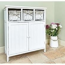Diseño blanco 2 Puerta Aparador armario 3 cajones de mimbre