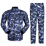 Zhiyuanan Herren Tactical Camouflage Uniform Anzug 2 Stück Sets Outdoor Jagd Trekking Camping Militär Kampf Wasserdichte Wandern Jacken + Camo Hosen Tarnmuster Kleidung Britische Marine 2XL