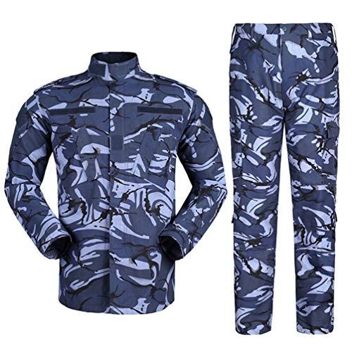 Zhiyuanan Herren Tactical Camouflage Uniform Anzug 2 Stück Sets Outdoor Jagd Trekking Camping Militär Kampf Wasserdichte Wandern Jacken + Camo Hosen Tarnmuster Kleidung Britische Marine S
