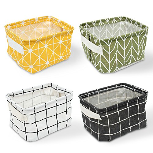 Erlliyeu 4 Pack of Folding Aufbewahrungsbox Faltbox, Small Baby Linen Storage Organizer Sets Plastic Storage Box Organizer (Schrank-schublade-storage Box)