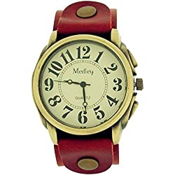 Medley Gents Analogue Beige Dial Wide Red Leather Cuff Strap Watch MED18