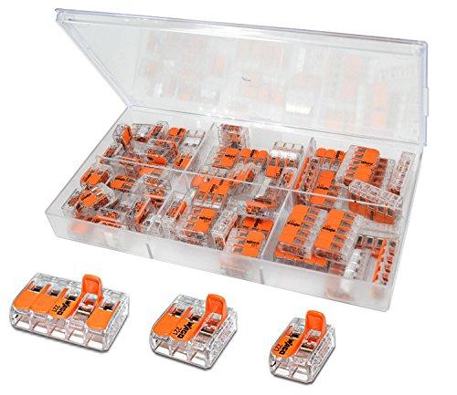 WAGO Klemme 60 Stück Set Sortiment 26x 221-412   20x 221-413   14x 221-415 in praktischer Klarsichtdose