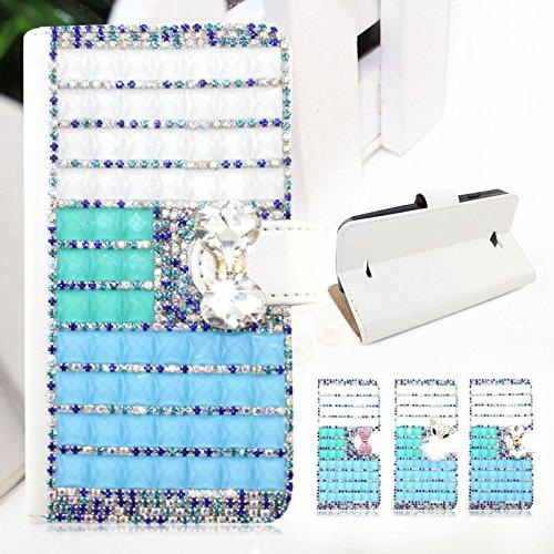 LG G4 Beat / G4s CasefirstWallet Handyhülle Strass Muster PU Ledertasche, Ultra dünner Schlag Schutzhülle mit Kartensteckplatz und Funktion Stoßfest Staubschutzhülle Flip Standabdeckung Brieftasche Kartenhalter Magnetverschluss - Weiß Bowknot - Beats Bling Weiß