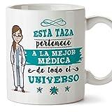 Mugffins Médica Tazas Originales de café y Desayuno para Regalar a Trabajadores Profesionales - Esta Taza Pertenece a la Mejor Médica del Universo - Cerámica 350 ML