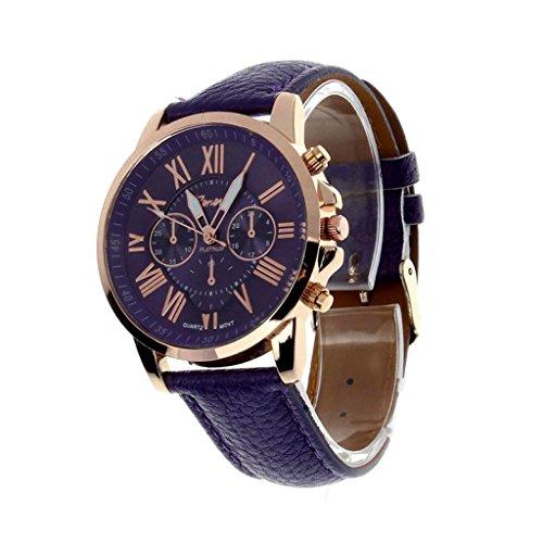 Valentinstag Uhren DELLIN Damenmode Genf römischen Ziffern Kunstleder analoge Quarz-Armbanduhr (Lila)