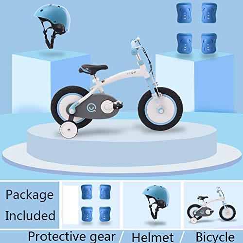 XiangYu Kinderfahrrad Kinder Fahrrad für Jungen Mädchen Reiten im Freien + Hilfsrad +Ausstattung Blue-b-16inch